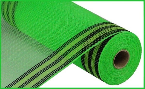 "10.5""X10YD FAUX JUTE/PP/BORDER STRIPE Color: Lime/Black/Fresh Green"
