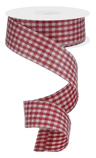 """1.5""""X10yd Glitter On Woven Gingham Check Red/White"""