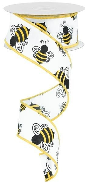 "1.5""X10yd Bumble Bee  White/Yellow/Black"