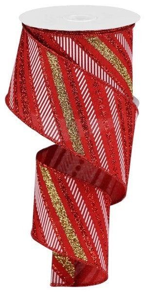 """2.5""""X10yd Multi Diagonal Stripes/Royal Red/Gold/White"""