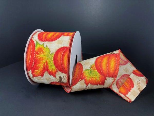 """Tan-Cream Chex/Pumpkins 2.5""""x10yd"""