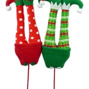 Plush Elf Legs Picks Asst Rd Gn W5xH14.5