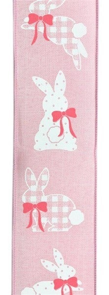 "2.5""X10yd Patterned Bunnies On Royal Pink"