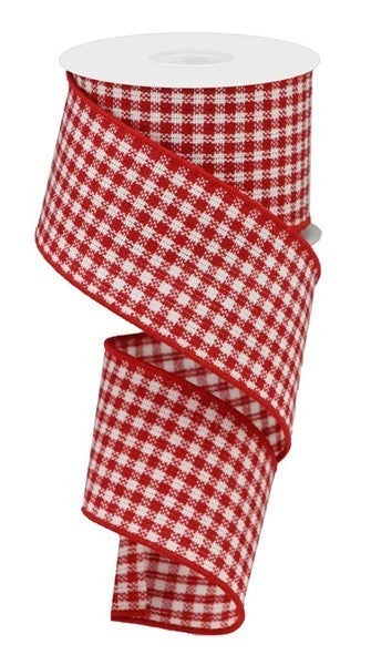 "2.5""X10yd Woven Mini Check Red/White"