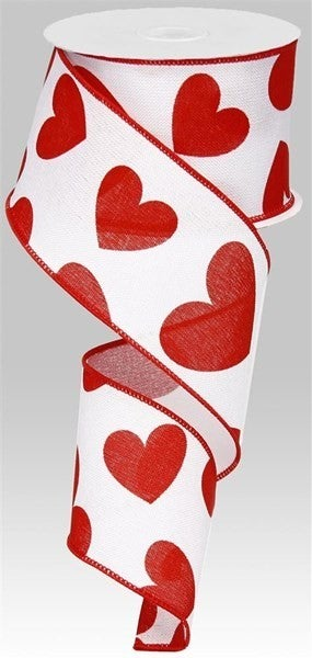 """2.5""""X10yd Large Hearts On Royal White/Red"""