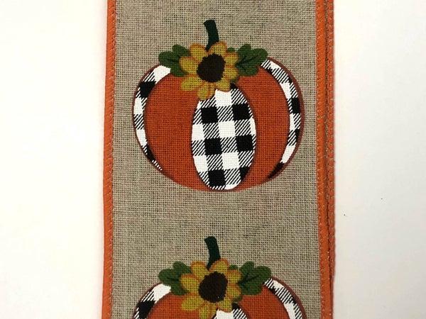 """lt/natural  Linen/Buff PLD Pumpkin-sunflower 2.5""""x50Yd"""