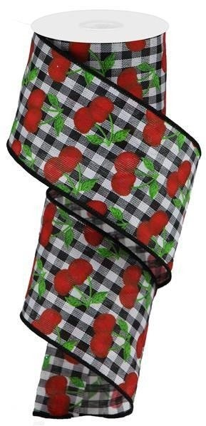"""2.5""""X10yd Cherries On Gingham Check Black/White/Red/Green"""