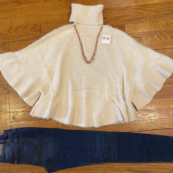 Turtleneck dolman poncho sweater