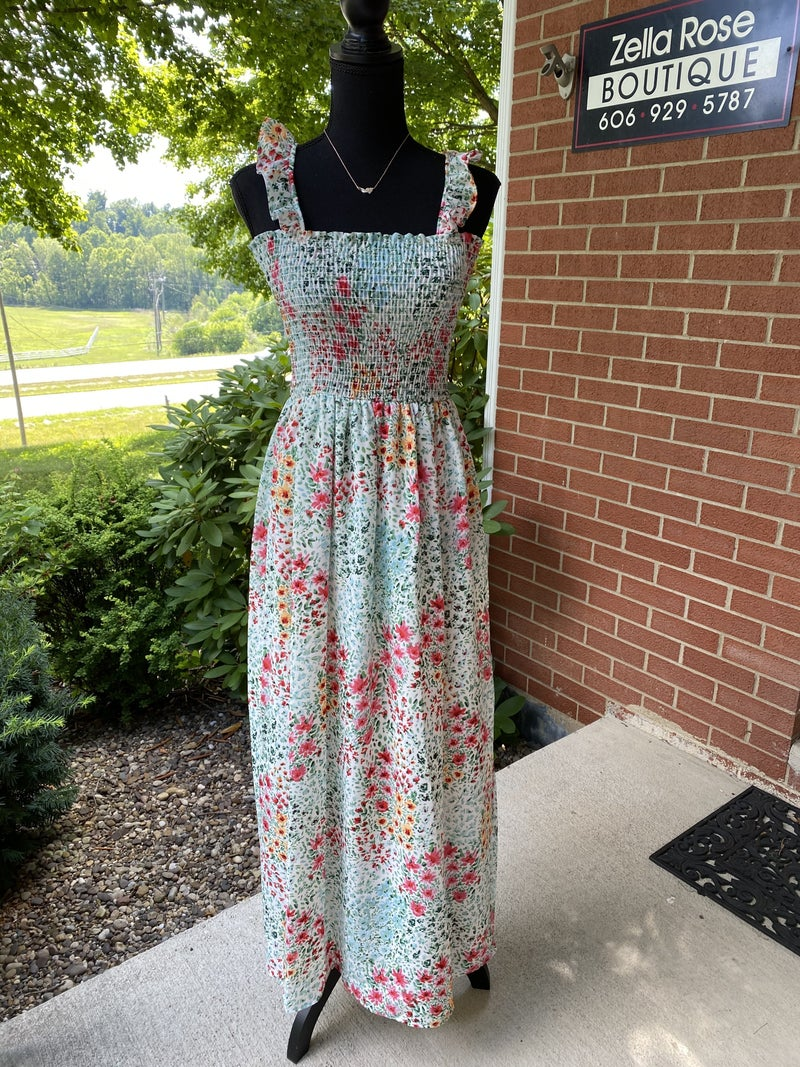 Smocked floral maxi dress