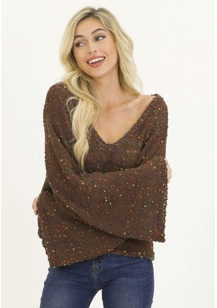 Brown confetti knit v-neck sweater