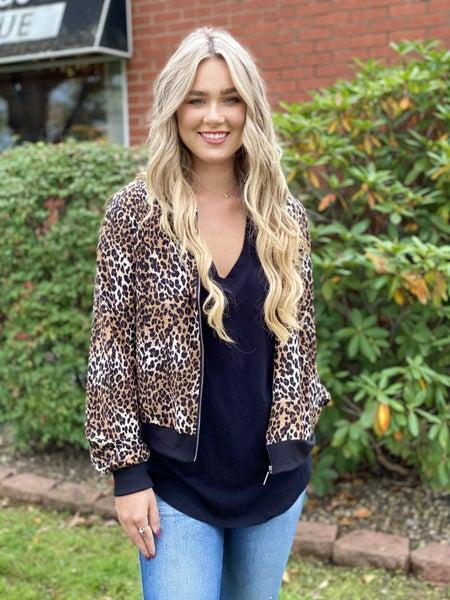 Cheetah print bomber jacket