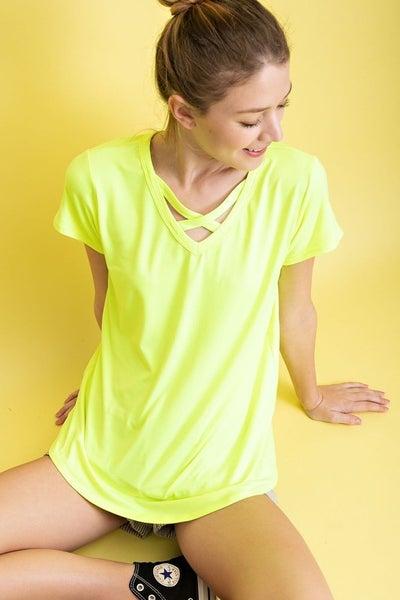 Neon criss cross t-shirt