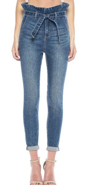 High rise paper bag skinny jean