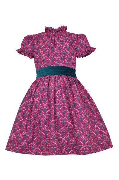 Millicent magenta print dress & headband