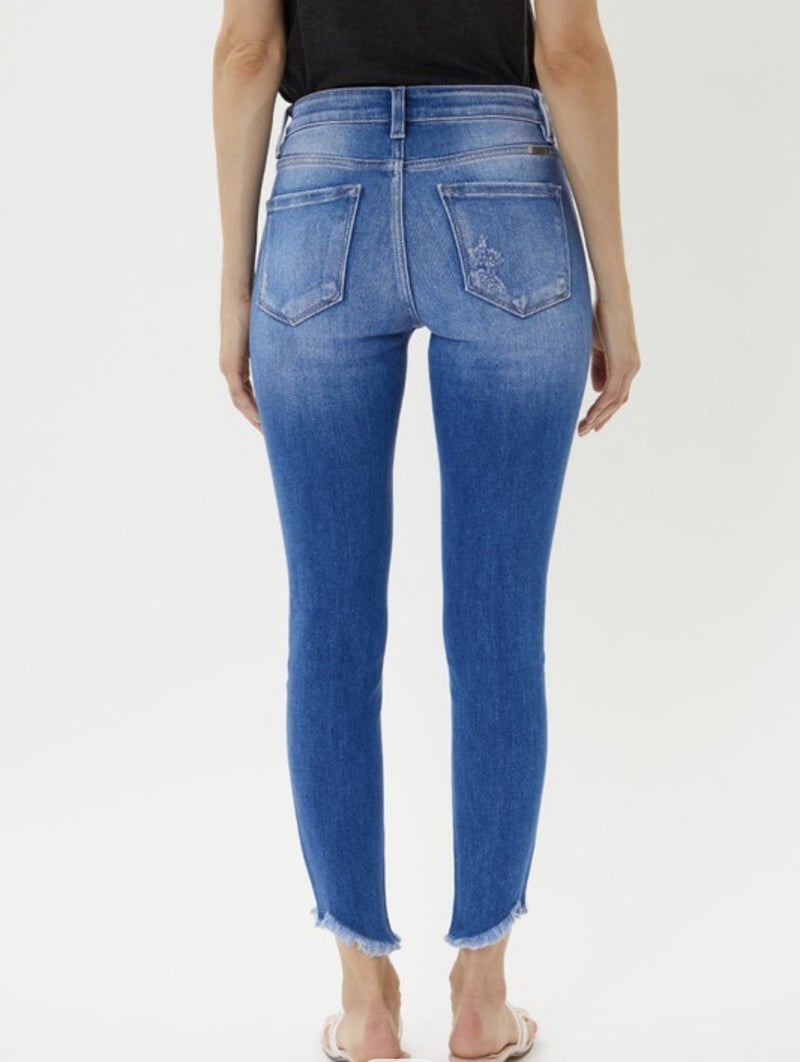 High Rise Frayed Ankle Skinny Jean