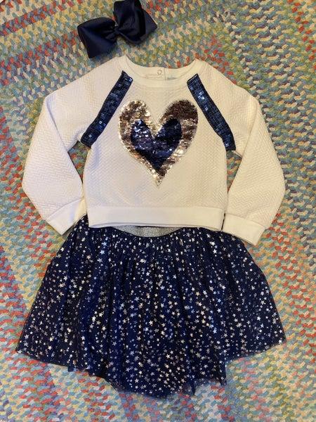 Sequin heart/tutu set