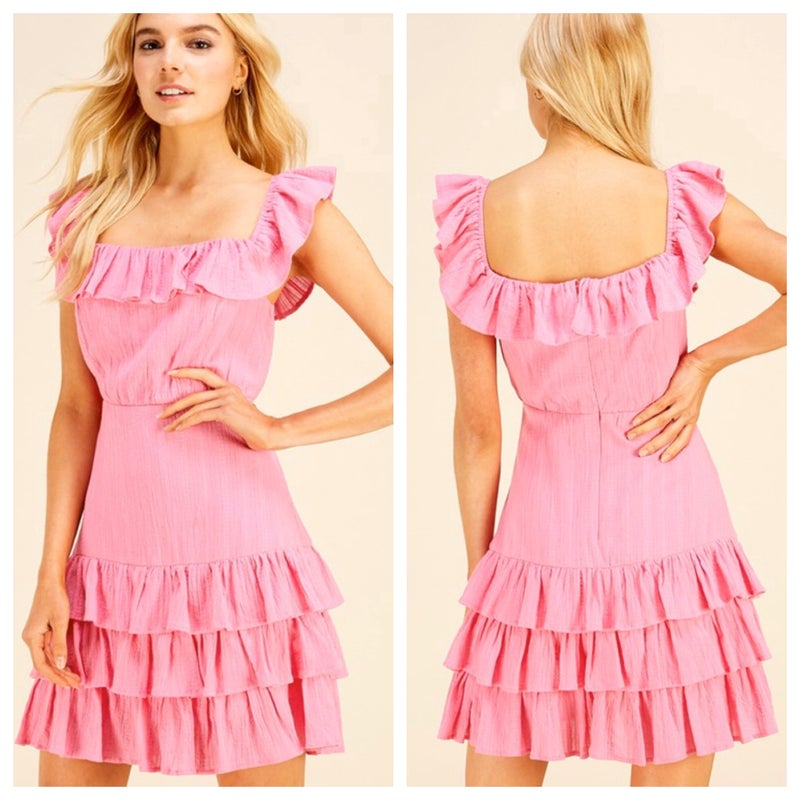Bubblegum tiered dress