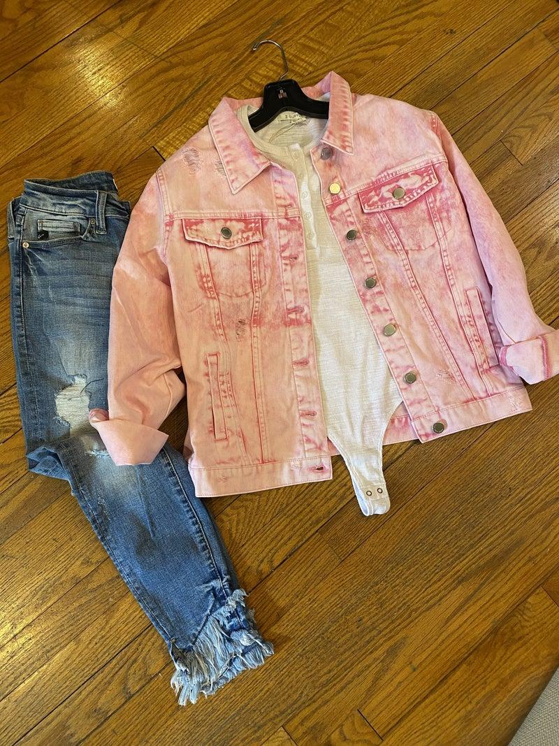 Distressed Pink Denim Jacket
