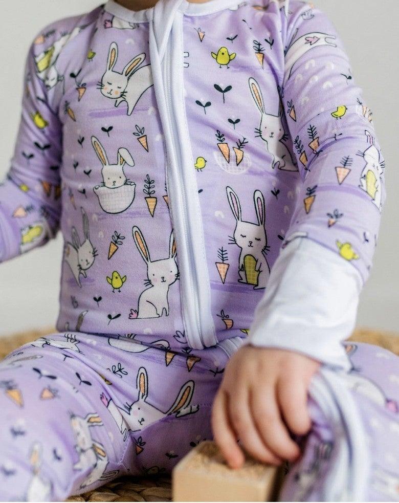 Little Sleepies Lavender Bunnies Romper