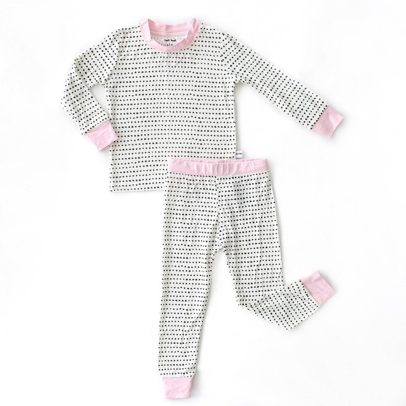 Little Sleepies Polka Dots (pink trim) Two Piece PJ Set