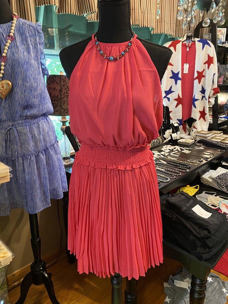 Smocked waist dress in hot pink