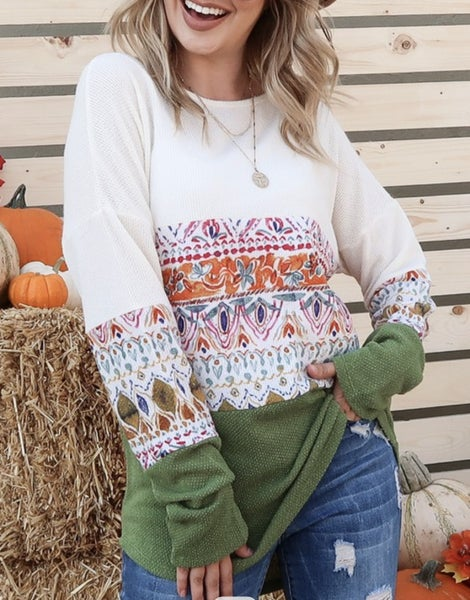 Patterned color block top
