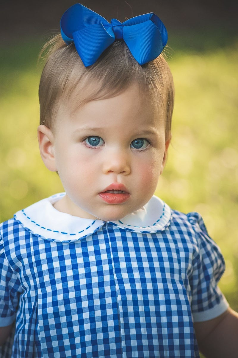 Blue Gingham Pleat Dress