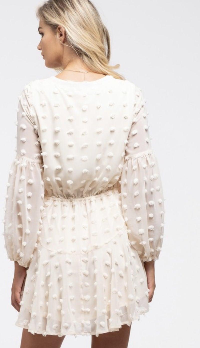 Long sleeve pom dress