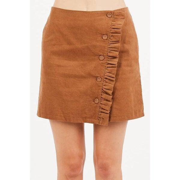 Ruffle corduroy skirt