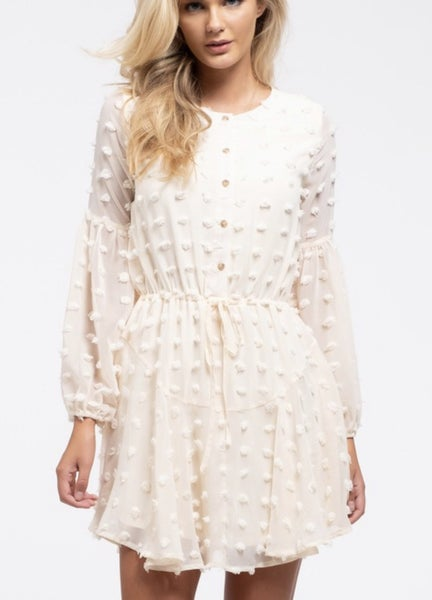 Long sleeve pom dress