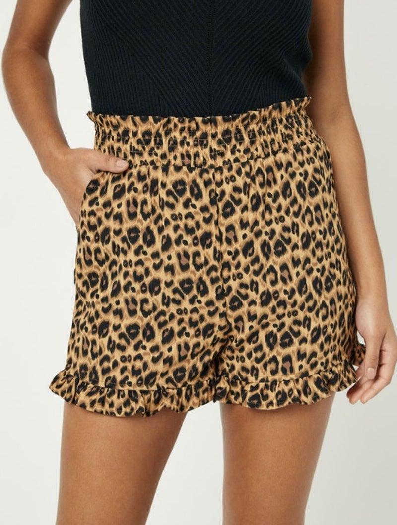 Smocked High Waist Leopard Shorts