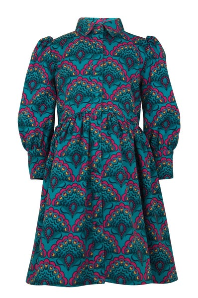 Evangeline emerald print dress & headband