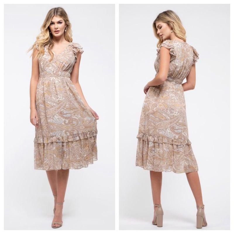 Woven paisley midi dress
