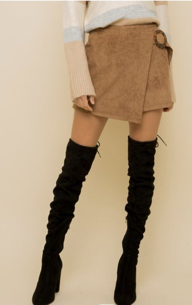 Tortoise Buckle Suede Skirt