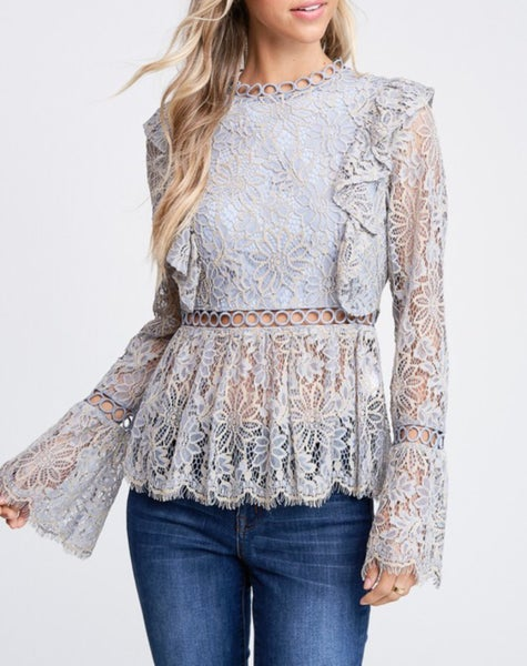 Lace scallop detail long sleeve top