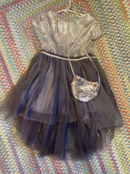 Silver hi-low dress