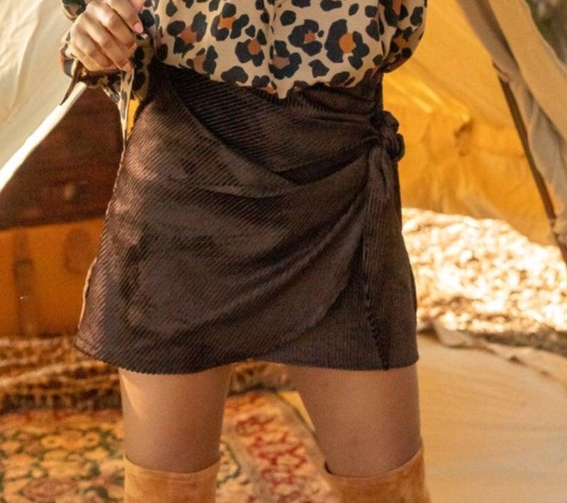 Chocolate corduroy wrap skirt