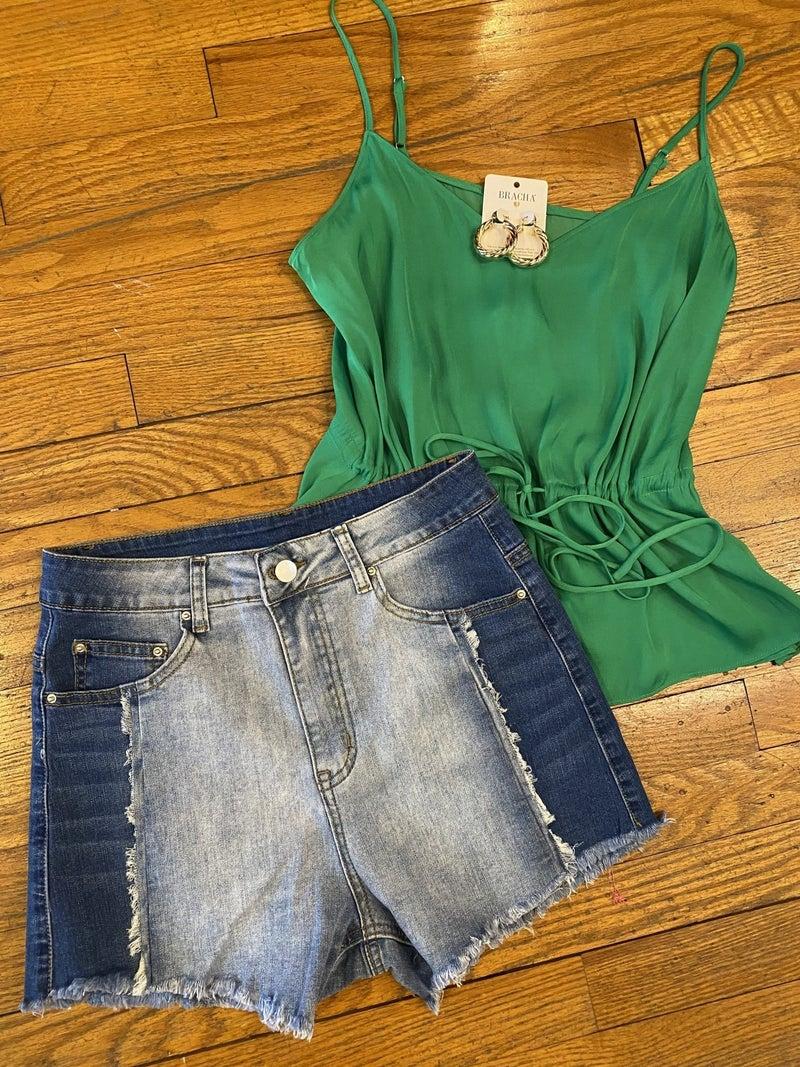Two Tone Denim Shorts