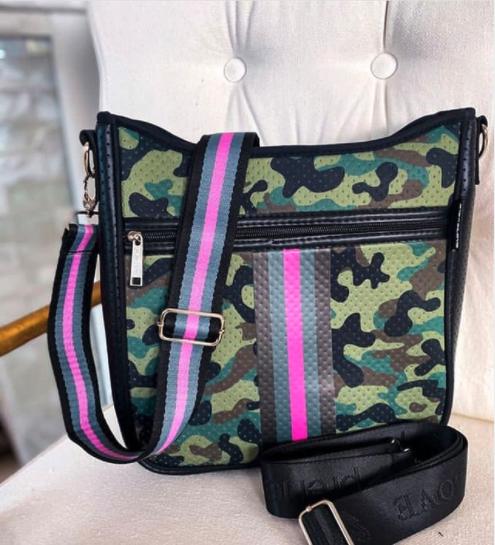 Pink Army Messenger Bag