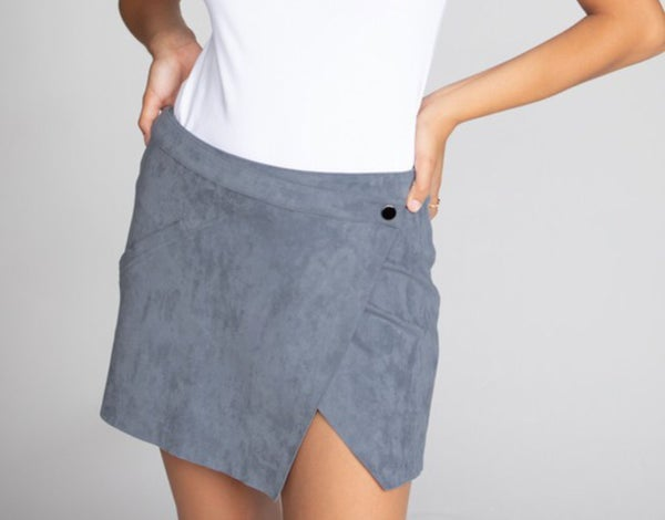 Mini wrap skirt in faux suede
